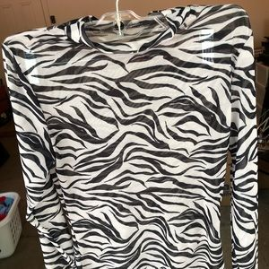 H&M Zebra Striped Mock Neck